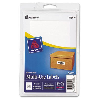 Print or Write Removable Multi-Use Labels, 1 x 3, White, 250/Pack, Sold as 250 Each (Avery Dennison White Inkjet)
