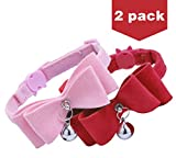 2Pcs Breakaway Bowtie Cat Collar with Bell Red & Pink