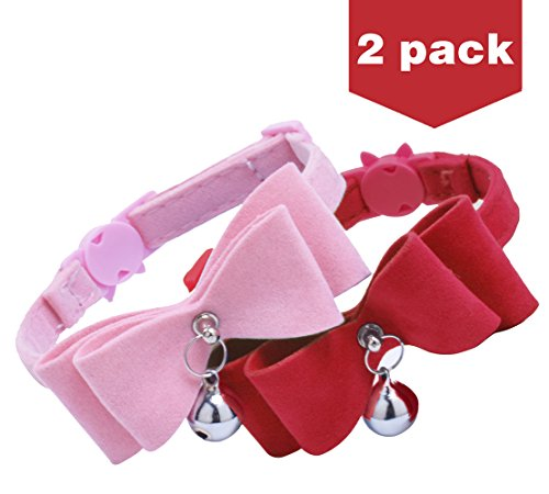 2Pcs Breakaway Bowtie Cat Collar with Bell Red & Pink (Cat Bowties)