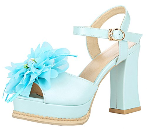 YE Women High Heels Sandals Platform Pumps with Flowers Blue xoT6lsu7Sd