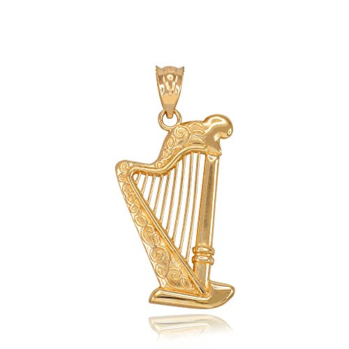14k Music Gold Charm (Fine 14k Yellow Gold Harp Music Charm Pendant)