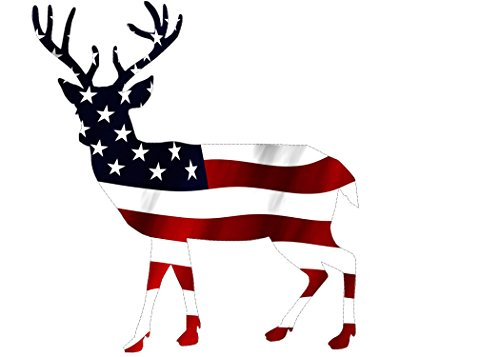 (Rogue River Tactical Deer Hunter Buck Decal Sticker Silhouette American Flag USA Large 5x5 Inch Patriotic Decal Auto Bumper Sticker Vinyl Car Truck RV SUV Boat Window Hunting)