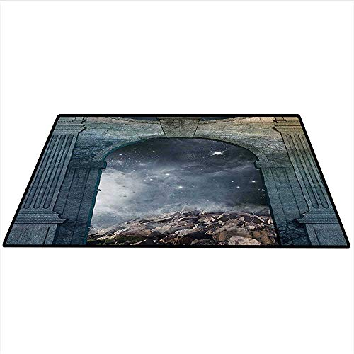 Galaxy Area Rug Carpet Magical Door with Star Cluster Inside Old Structure Enchanted Surreal Art Door mat 3'x5' (W90cmxL150cm) Bluegrey Grey Dark Blue