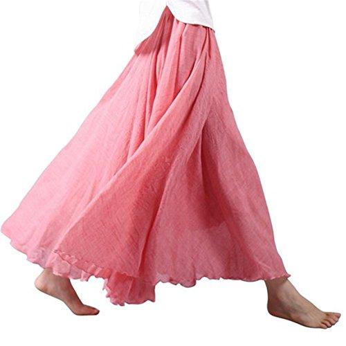 Women's Elastic Waist Bohemian Style Solid Color Band Cotton Linen Long Maxi Skirt Dress 45cm Light (Color Cotton Skirts)