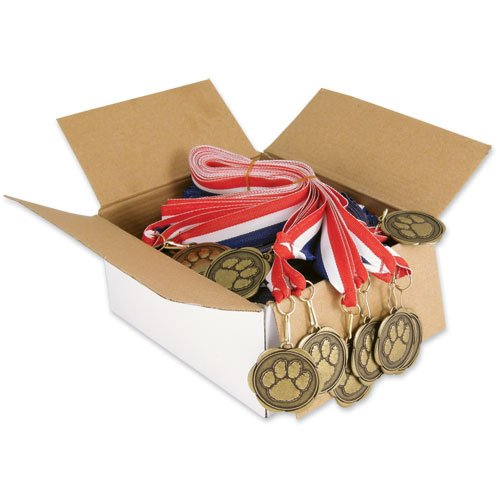 Set of 100 Award Medals with Neck Ribbons - Paw
