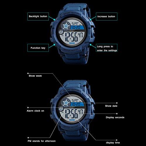 1 PC digital sportklocka för män, 50 meter vattentät, väckarklocka, dubbel tid, stoppur, nedräkning med pu-armband, rostfritt stålspange, nattcampingvandring – flerfärgad casual