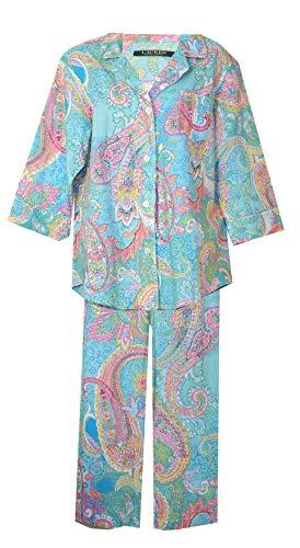 (Ralph Lauren Women's Paisley Party Woven Crop Pajamas PJ's (Mint Aqua Pink Yellow Paisley Medallion Print, Large))