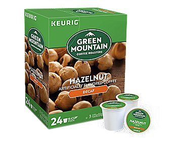 Green Mountain Coffee, Hazelnut Decaf, Single-Serve Keurig K-Cup Pods, Light Roast Coffee, 72 Count (3 Boxes of 24 Pods)