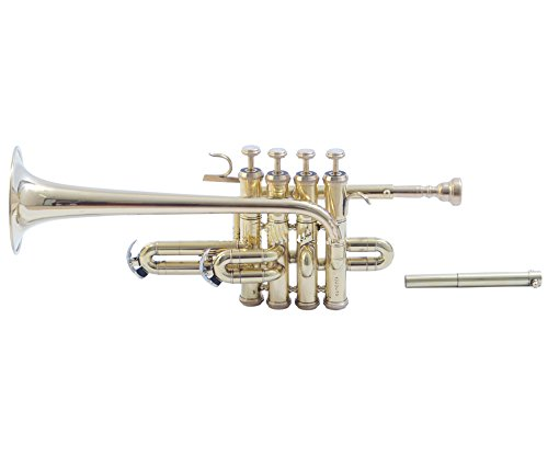 eMusicals Picollo Trumpet Bb Pitch With Free Hard Case And Mouthpiece, Brass