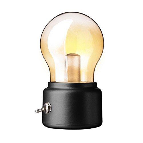 AOLVO foco lámpara luz de noche, USB recargable LED lámpara de noche, estilo retro regalo ideal para niños, amigos,...