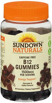 Sundown Naturals Caffeine Free B12 1500 mcg per Serving Gummies Chocolate & Coffee Flavored - 90 ct, Pack of 6 by Sundown Naturals