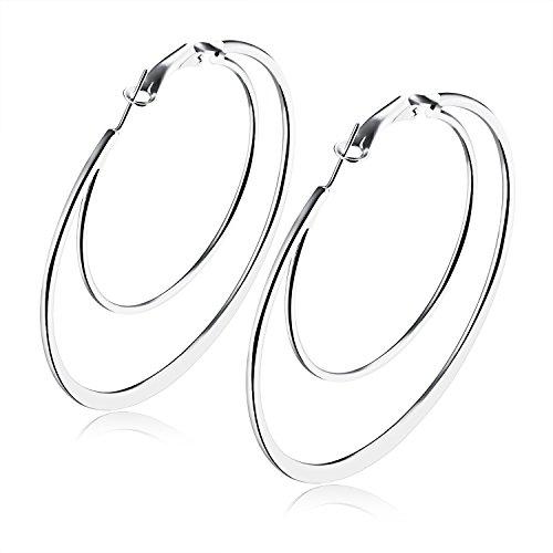 Silver Big Hoop Earrings for Women or Girls, Fashion Double Hoops&loop Earrings Metal Jewelry Nickel Free