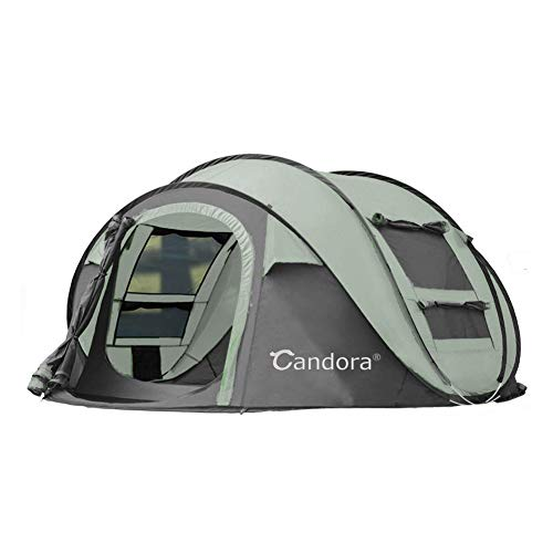Candora 4-Person Instant Pop-Up Tent Pop Up Tent – Automatic Setup in 1 Seconds -Easy to Setup and Foldable – Great Family Outdoor Camping Tents Shelters