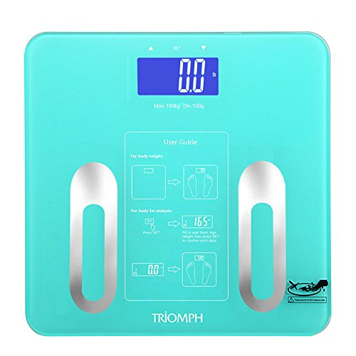 Triomph Precision Body Fat Scale with Backlit LCD Digital Bathroom Scale For Body Weight, Body Fat,Water,Muscle,BMI,Bone Mass and Calorie,10 User Recognition 400 lbs Capacity, Fat Loss Monitor, Blue