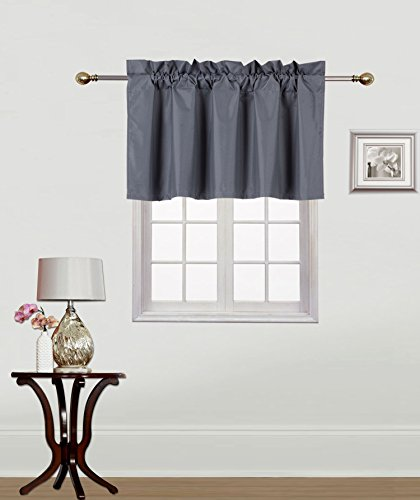 Midwest Window Treatment Collection 1PC Solid Foam Lined Blackout Panel Half Window Curtain OR Valance Room Darkening in Many Colors and Sizes (CHARCOAL GREY, (Valance Silk Curtain)