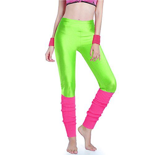Kimberly's Knit Women's Neon Green Leggings and Pink Legwarmers Set