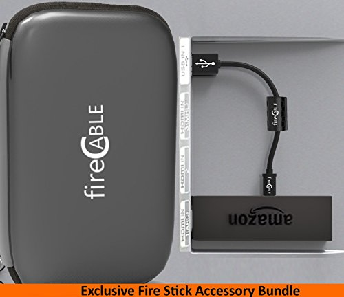 Bundle Fire Cable Exclusive - Power Amazon Fire TV Stick Directly from TV | Go Case - Electronics Case (PowerPlus w/ Go Case)