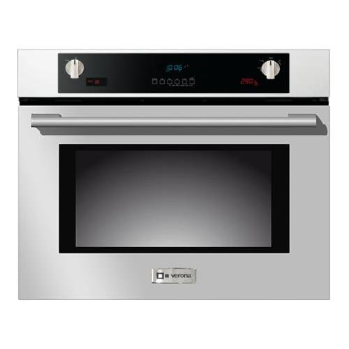 Verona VEBIEM3024SS 30'' Electric Wall Oven with 3 Cu. Ft. Capacity Pyrolytic Self Cleaning Multi-Function European Convection Oven 3 Pane Heat Resistant Glass and Auto Door Lock in Stainless