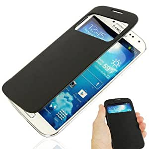 Call Display Flip Leather Case with Sleep / Wake-up Function & Plastic Replacement Battery Cover for Samsung Galaxy S IV / i9500 (Black)