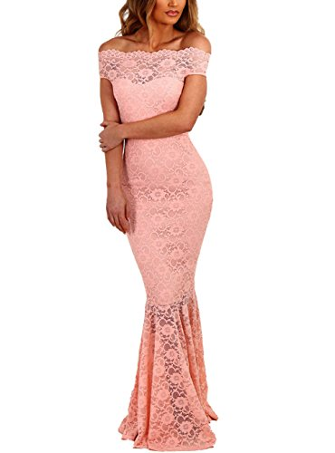 Elapsy Womens Sexy Off Shoulder Bardot Lace Evening Gown Fishtail Maxi Dress Pink Medium