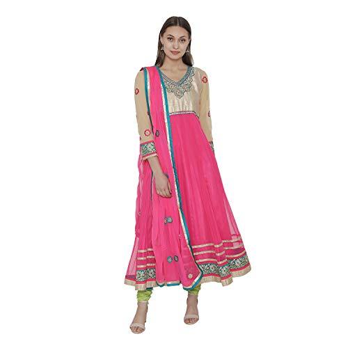 PinkShink Pink and Beige Net Long Anarkali Kurta Dupatta Churidar Set (M)