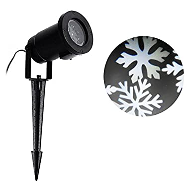 Sunvito Waterproof White Snowflakes Lamp Light Sparkling Landscape Projector for Outdoor Decor Stage Irradiation Christmas Holiday Home Decoration Wall Motion Decoration