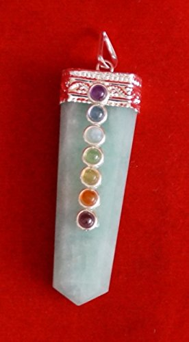 Healing Crystals India® Amazonite Chakra Pendant with 7 Chakra Stones ()