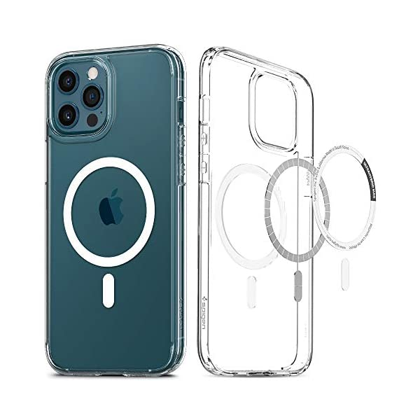 Spigen Ultra Hybrid Mag Back Cover case Compatible with iPhone 12 Pro Max - White 2021 August [Compatible with Magsafe Products] Magnet integrated clear PC back cover case [Precise Fit] Tactile buttons for solid feedback and an easy press [Corner Protection] Air Cushion Technology for shock absorption