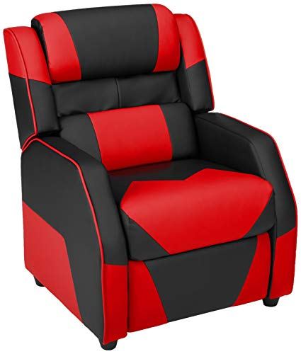 AmazonBasics Kids/Youth Gaming Recliner with Headrest and Back Pillow, 5+ Age Group, Black and Red