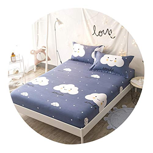 160X200Cm 100% Cotton Girls Fitted Sheet Bed Sheet Linen Set Mattress Cover with Elastic Band Sheet College Dorm Queen Twin Size,Fitted Sheet 4,200Cmx220Cm 3Pcs