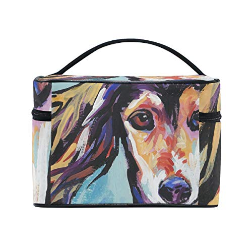 (Saluki Hound Cosmetic Bags Organizer- Travel Makeup Pouch Ladies Toiletry Train Case for Women Girls, CoTime Black Zipper and Flat Bottom)