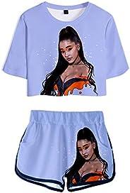MIYECC Girl's Ariana Grande T-Shirt and Shorts Sets 3D Printed Short Sleeve