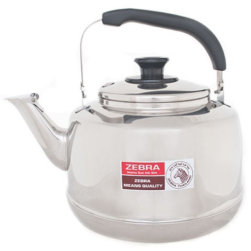 (Extra Large Size 7.5 Liter Zebra Polished Mirror Finish Stainless Steel Whistling Canister Stovetop Teakettle Tea Kettle Teapot, Gas Electric Induction Compatible)