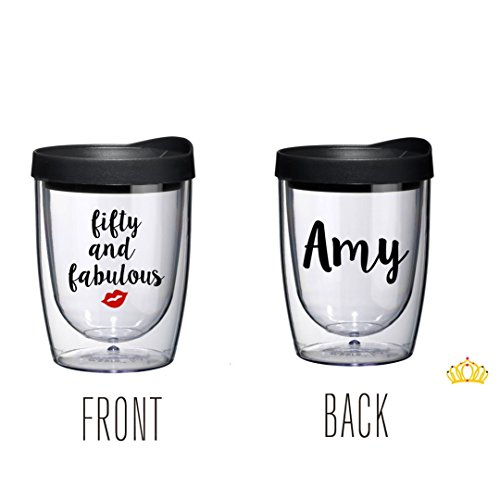 Personalized Fifty and Fabulous 50th Birthday Wine Tumbler with Name, 50th Birthday Gift for Woman by Dash of Flair