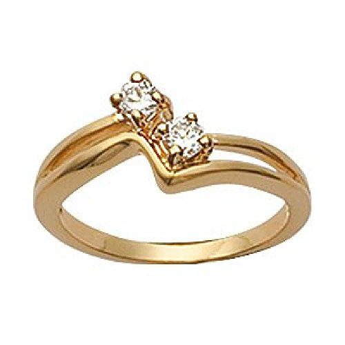 Wishbone Rings Gold (So Chic Jewels - Ladies 18k Gold Plated Clear Cubic Zirconia Wishbone Ring - Size 9)