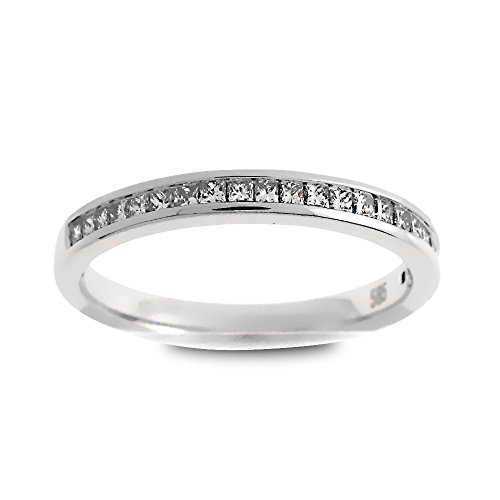 (14K White Gold 1/4ct TDW Princess-Cut Diamond Halfway Wedding Band (G-H, SI1-SI2))