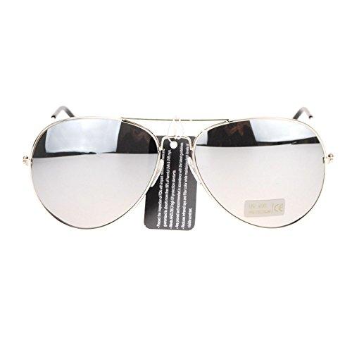 Mens Mirror Lens Classic Wire Rim Tear Drop Pilot Aviator Sunglasses - Pilot Mirror Sunglasses