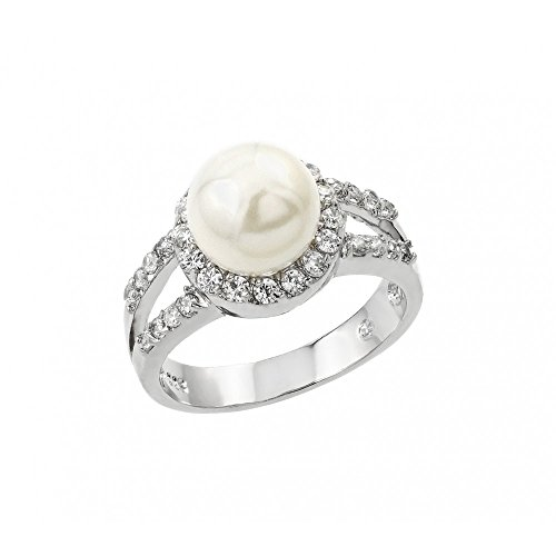 Exquisite Sterling Silver Rhodium Plated Clear Cluster CZ Synthetic Pearl Ring - (Pearl Cluster Rhodium Silver Ring)