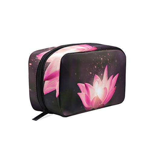 (Cosmetic Bag Realistic Clipart Lotus Flower Customized Makeup Bags Square Organizer Portable Pouch Pencil Storage Case for Women )