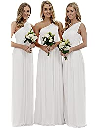Womens Long One Shoulder Bridesmaid Gown Asymmetric Prom Evening Dress