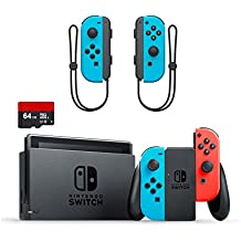 Nintendo Swtich 3 items Bundle:Nintendo Switch 32GB Console Neon Red and Blue Joy-con,64GB Micro SD Memory Card and an Extra Pair of Nintendo Joy-Con (L/R) Wireless Controllers Neon Blue