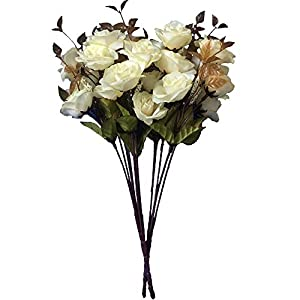 KAYAN 7 Branch 21 Heads Artificial Silk Fake Flowers Leaf Rose Wedding Floral Decor Bouquet for Home Garden Party Wedding Decoration (White) 2