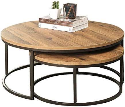 Amazon Com Round Small Coffee Table Nesting Table Wood And Metal Side Table Set Of 2 Sofa Table Center Tables Living Room 70cm Large And 55cm Small Furniture Decor