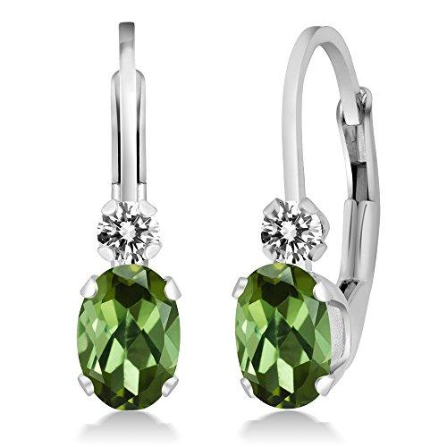 Gem Stone King 0.87 Ct Oval Green Tourmaline White Diamond Sterling Silver Leverback Earrings