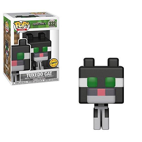 Funko 8-Bit Pop! Games: Minecraft - Tuxedo Cat CHASE Variant Limited Edition Vinyl Figure (Bundled with Pop BOX PROTECTOR - Bit Minecraft 8