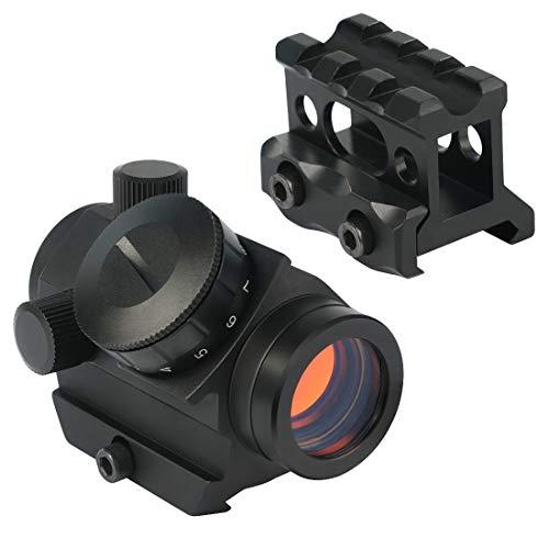 Feyachi Red Dot Sight, Micro Red Dot Gun Sight 4 MOA Rifle Scope with 1 inch Riser Block Mount, 1x22mm, Black by Feyachi
