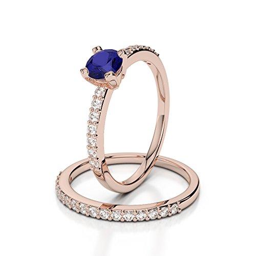 Or Rose 18carats 0,50CT G-H/VS sertie de diamants ronds Cut Saphir et mariée Bague de fiançailles et ensemble de Agdr-1146