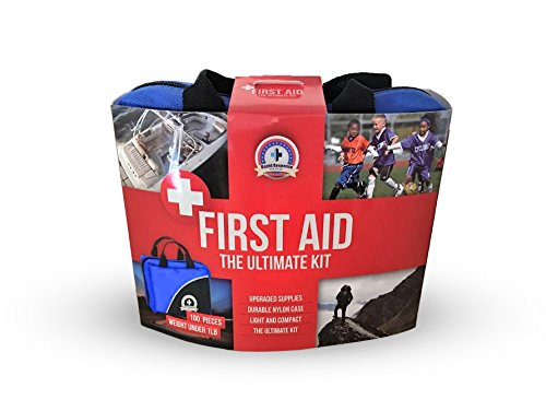 Rapid Response First Aid Medical Kit, small and light with blue fabric bag and reflective strip, 100 piece