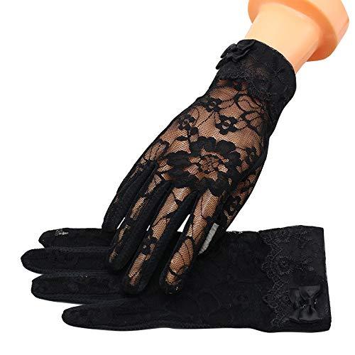 MoonEver Women's Short Lace Gloves Touch Screen No-Slip Summer Gloves