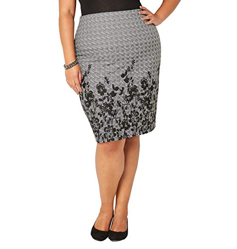 Avenue Women's Plaid Floral Textured Skirt, 18/20 Grey Print by Avenue